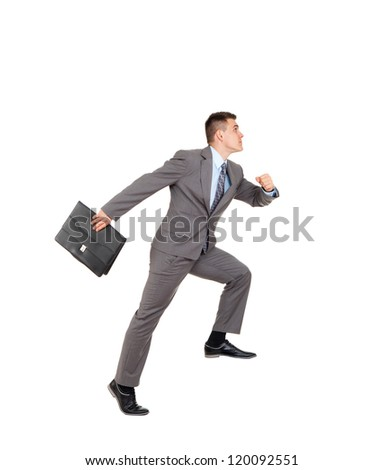 Handsome businessman run with briefcase, making step up side, business man wear elegant gray suit and tie full length portrait isolated over white background - stock photo