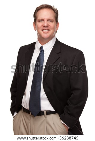Handsome Businessman Smiling in Suit and Tie Isolated on a White Background. - stock photo
