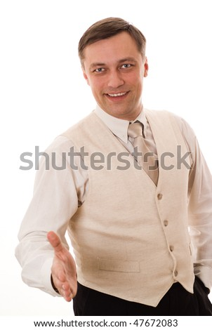 handsome businessman standing on white background - stock photo