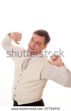 handsome businessman standing on white background