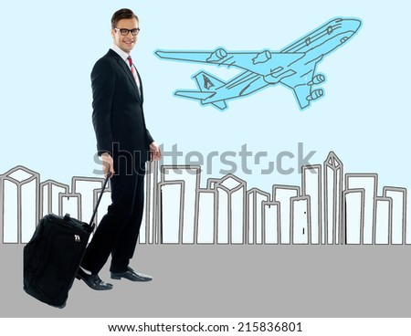 Handsome businessman, the traveler. - stock photo