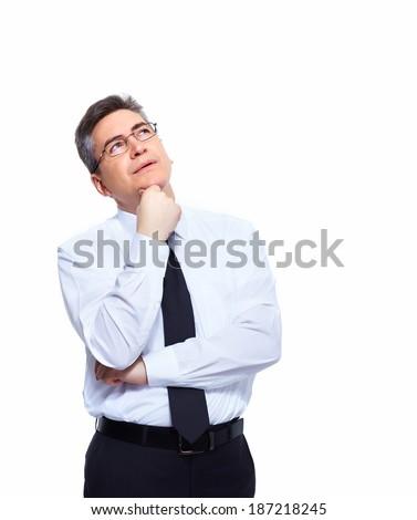Handsome Businessman thinking solution isolated white background - stock photo