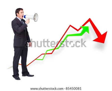 Handsome businessman using a megaphone against curves