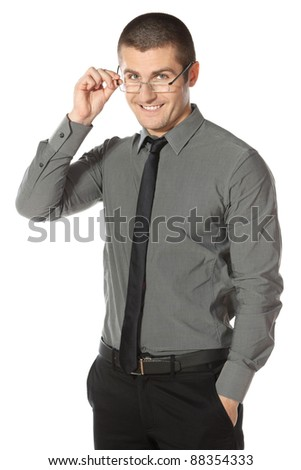 Handsome businessman wearing glasses over white background - stock photo