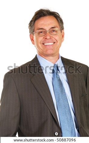 Handsome businessman wearing suit and tie - stock photo