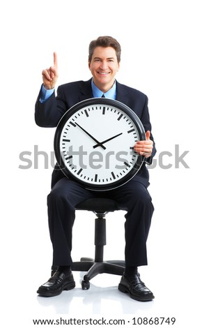 Handsome businessman with a clock. Over white - stock photo