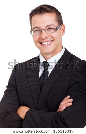 handsome businessman with arms folded on white background