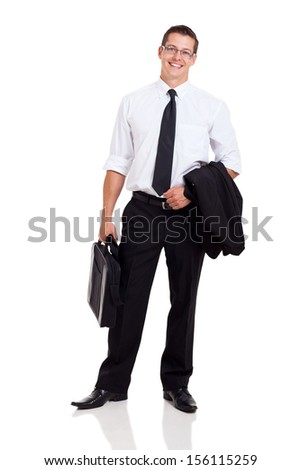 handsome businessman with briefcase isolated on white - stock photo