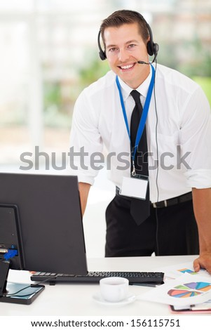 handsome businessman with headphones - stock photo