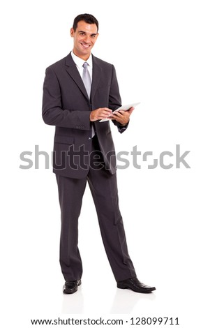 handsome businessman with tablet computer isolated on white - stock photo