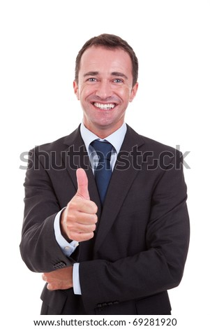 handsome businessman with thumb raised as a sign of success, isolated on white background. studio shot - stock photo