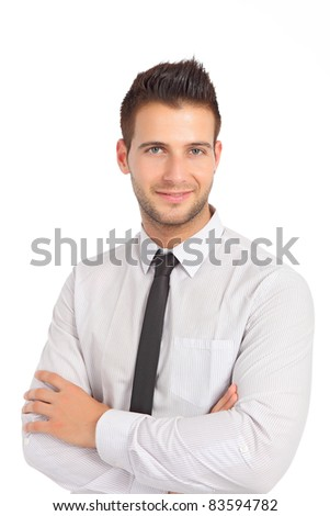 Handsome businessman with tie - stock photo