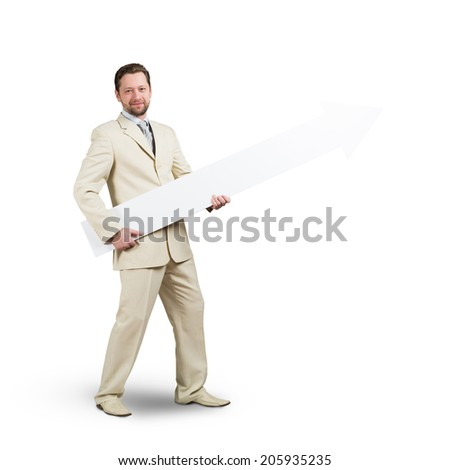 Handsome businessman with white blank arrow. Place for text