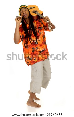 Handsome Caribbean, humorous African American  Rasta reggae guy with joint and guitar.  Studio, white background - stock photo