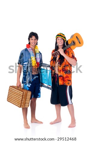 Handsome Caribbean, humorous Rasta reggae guy with guitar and tourist teen.  Studio, white background