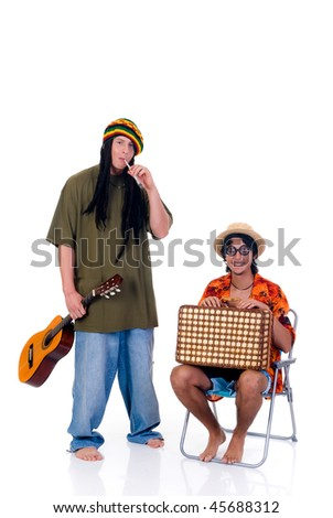Handsome Caribbean, humorous Rasta reggae guy with joint and guitar, nerd tourist in chair.  Studio, white background - stock photo
