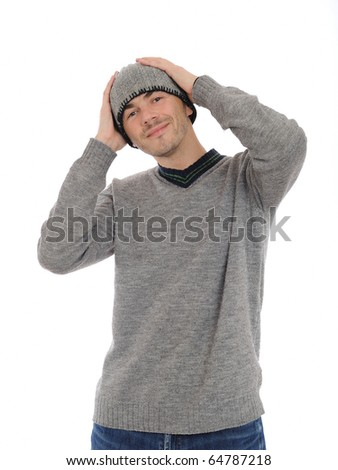 Handsome casual man in winter hat and warm clothes. isolated on white background - stock photo