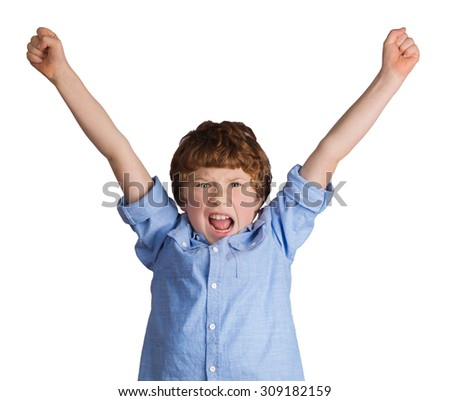 Handsome caucasian boy celebrating victory or success screaming and throwing hands in the air. Isolated on white background