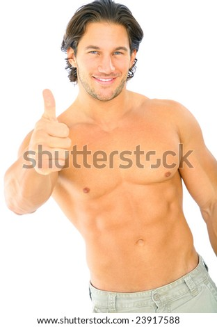 handsome caucasian male topless give thumb up - stock photo