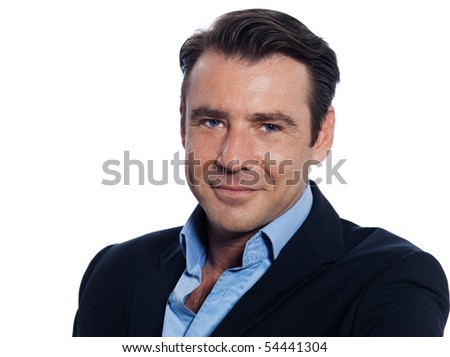 Handsome caucasian man businessman smiling portrait on white isolated background - stock photo