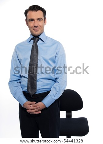 Handsome caucasian man businessman standing relaxed portrait on white isolated backgroun - stock photo