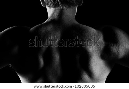 Handsome caucasian man, close-up of back, black and white image - stock photo