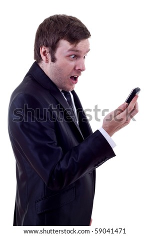 handsome caucasian man looking at phone astonish  isolated studio on white background