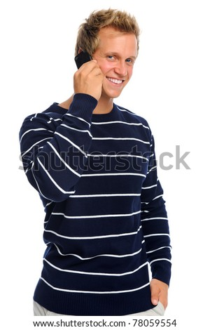 Handsome caucasian man makes a call on his mobile phone - stock photo