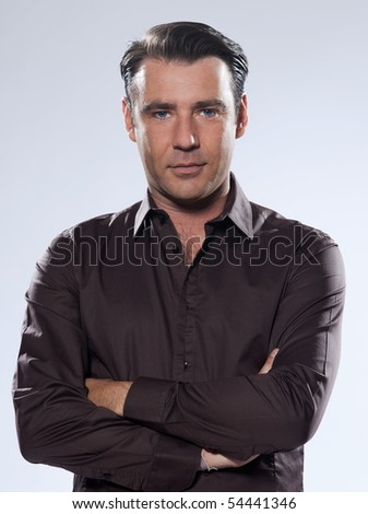 Handsome caucasian man portrait on white isolated background - stock photo