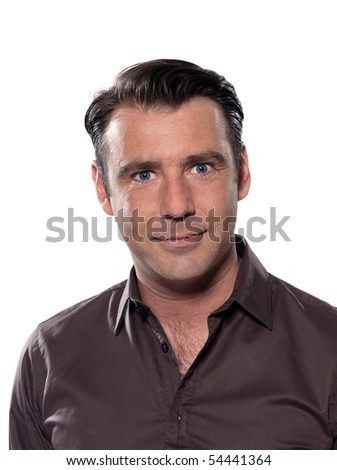 Handsome caucasian man smiling portrait on white isolated background with brown shirt - stock photo