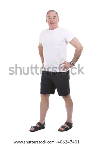 handsome caucasian man wearing summer outfit on white background