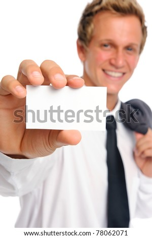 Handsome caucasian man with blank business card - stock photo