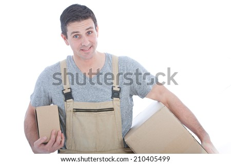 Handsome Caucasian Worker Carrying Cartoon Box in White Background - stock photo