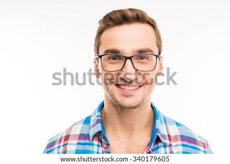Handsome cheerful man with glasses - stock photo