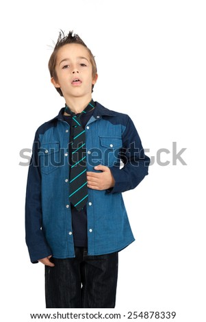Handsome child doing different expressions in different sets of clothes: heart attack - stock photo