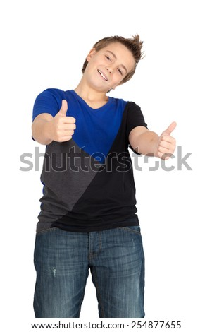 Handsome child doing different expressions in different sets of clothes: thumbs up - stock photo