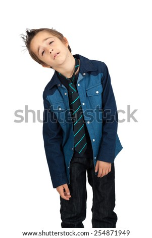 Handsome child doing different expressions in different sets of clothes: tired - stock photo