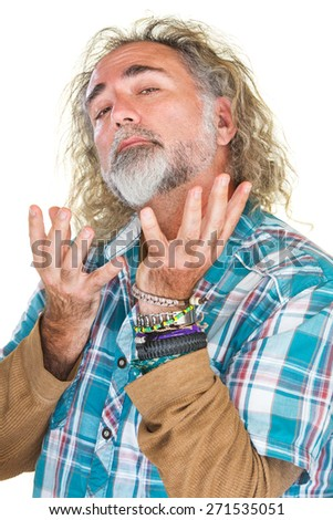 Handsome conceited man with beard and open hands - stock photo