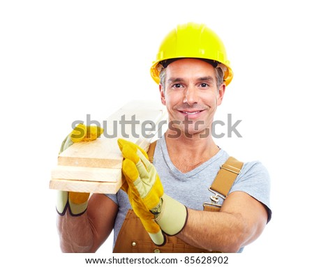 handsome contractor  in yellow uniform. Isolated over white background - stock photo