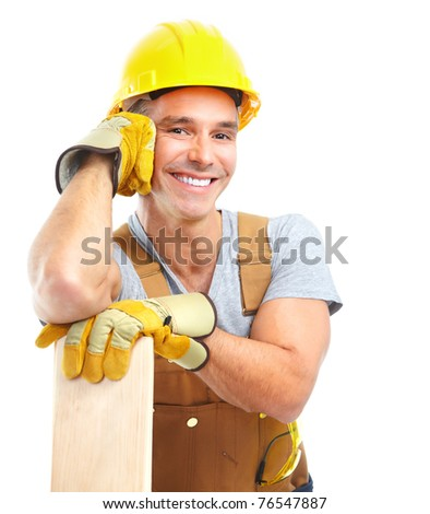 Handsome contractor with wood planks. Isolated over white background - stock photo