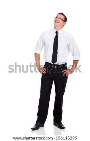 handsome corporate worker looking up isolated on white background - stock photo