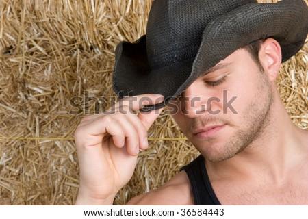 Handsome Cowboy - stock photo