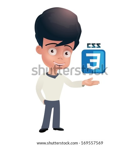 Handsome dark haired boy with CSS3 badge