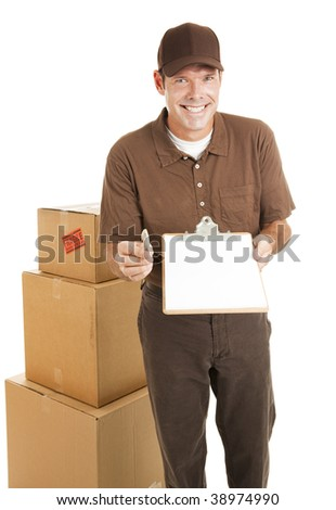 Handsome delivery man holding a clipboard toward the camera.  Blank space ready for your text.  Isolated. - stock photo