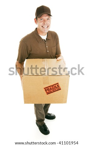 Handsome delivery man with a box.  Isolated on white. - stock photo