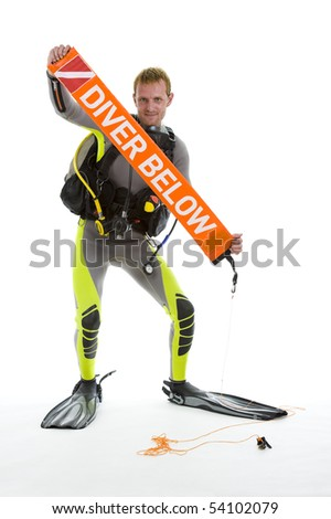 handsome diver with safety balloon, isolated on white background - stock photo