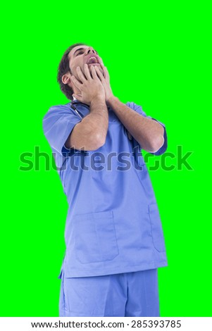 Handsome doctor male nurse working - stock photo