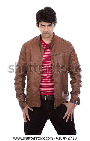 handsome east indian man wearing red shirt on white isolated background