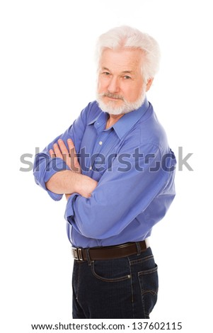Handsome elderly man with gray beard isolated over white background