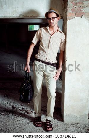 handsome elegant fashion man portrait - stock photo